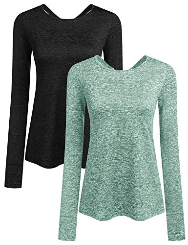 ADOME Damen T-Shirt Schnell Trocken Fitness Yoga Top Sportshirt Funktions Shirts Langarmshirt Running Top Oberteile