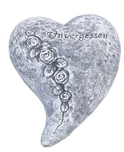 Stone and Style Grabschmuck, Grabstein Herz Unvergessen, massiver Steinguss, frostfest bis -30°C