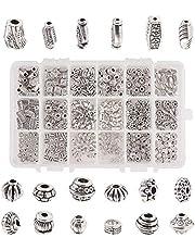 PH PandaHall 480 قطعة 18 نمط مجوهرات فواصل الخرز سبائك التبت المعادن الخرز سحر الفواصل للعقد سوار صنع المجوهرات، فضي عتيق