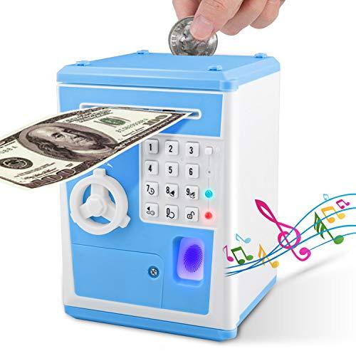 ATM Money Bank, Money Bank mit elektronischem Auto Scroll Paper Cash, simulieren Fingerabdruck ATM Sparschwein für echtes Geld, Wecker und Broadcast Time's Money Safe für Kinder