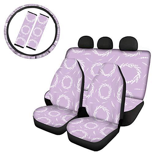 NETILGEN 4 Pieces Purple Lavender Printed Car Fabric Seat Cover Full Set + 2pcs Car Seat Belt Covers + Car Steering Wheel Cover-7 pcs Accessories Sets, Universal Fits