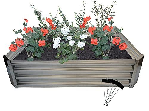 Treekosten45 - Lettino da giardino rialzato in acciaio zincato (1,2 x 0,9 x 0,3 m), in metallo rialzato per piante da giardino per verdure, fiori ed erbe. 4 etichette per piante in metallo.