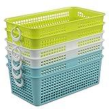 Fosly Cestas de Almacenamiento Rectangulares de Plástico, 6 Unidades, Cesta...