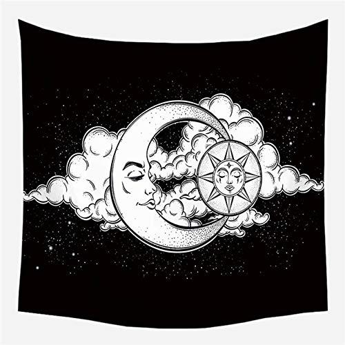 KHKJ Tapices de Pared Europeos Vintage, Tapiz de brujería, Sol, Luna, Estrella, Dormitorio, cabecera, Alfombra, Alfombra, Manta de astrología A9 95x73cm