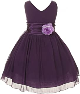 Chiffon Double V Neck Flower Girl Dress, Made in USA