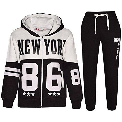 A2Z 4 Kids® Bambini Tuta Ragazzi Ragazze Progettista New York 86 - T.S New York 86 Black 9-10