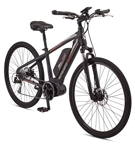Schwinn Voyageur Electric Bike, Mid-Drive, Medium Step-Over Frame, Dark Blue