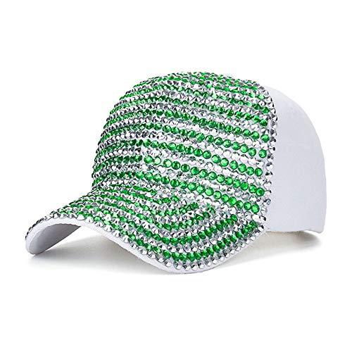 KCJMM-HAT Gorras Beisbol, Gorra para Hombre Mujer Talla única, Miles de Diamantes, Taladro de Punto Blanco y Verde, Gorra de béisbol de algodón, Sombrero para el Sol al Aire Libre