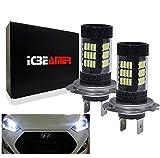 ICBEAMER Xenon White H7 12V 57 4014-SMDs LED High Beam/Fog Light Daytime Running (DRL) Light Kits 6000 Lumens [Pack of 2 pcs]