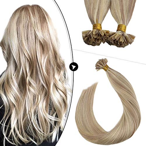 Ugeat Remy Hair Extensions U Tip 16 Inch 50g Piano Color Blonde #18 with #613 Pre Bonded Fusion Hair 50Strands Keratin U Tip Human Hair Extensions Nail Tip
