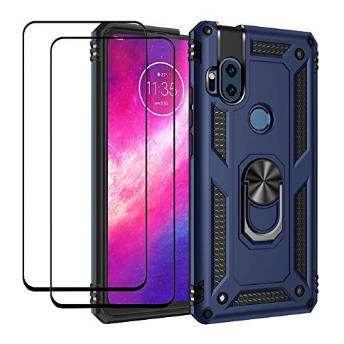 EasyLifeGo for Motorola One Hyper Kickstand Case with Screen Protector Tempered Glass [2 Pieces], Hybrid Heavy Duty Armor Dual Layer Anti-Scratch Case Cover, Blue