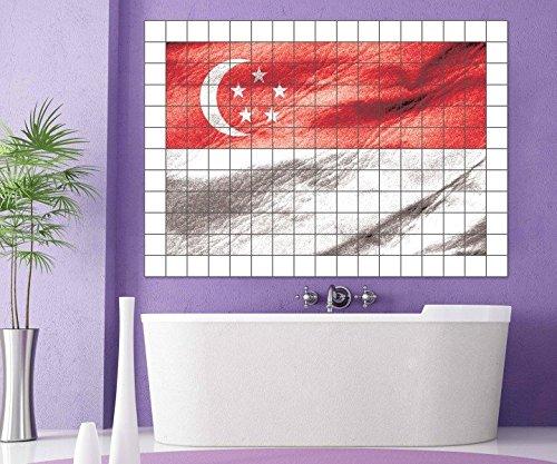 Fliesenaufkleber Singapur Fahne Flagge 15 10 25 20 cm Fliesenbild Fliesen Fliesenbilder Aufkleber Bad Küche 8A445, Bildformat:105cmx70cm;Fliesengröße:Fliese 25x15cm