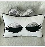 Sequin Eyelash Pillow Cover Mettalic Gray Handmade Pillow Covers Sequin Glitter Pillow Case 12' x 20' (30 cm x 50 cm) Throw Pillow Decorative Eyelash Pillow Tribal Throw Pillow Covers