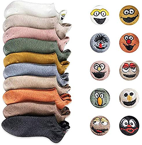 Yidarton Damen Socken Baumwolle Komfortabel Netter Cartoon Bestickte Lustig kurz Frauen Socken (A-10 Paar)