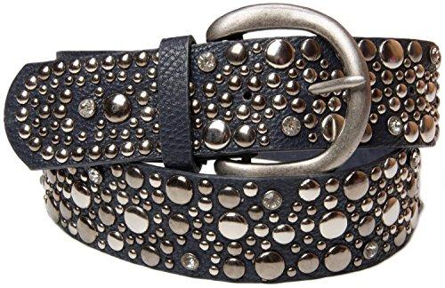 styleBREAKER Nietengürtel im Vintage Style, breiter Gürtel mit Nieten und Strasssteine, Glitzergürtel, kürzbar, Damen 03010020, Farbe:Dunkelblau;Größe:100cm