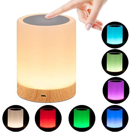 omitium Veilleuse LED, Lampe de Chevet avec Contrôle Tactile et USB Rechargeable et Changement de 16 Couleurs RGB avec Dimmable Lampe de Table pour La Chambre et Le Salon - Blanc Chaud