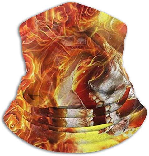 Unisex Calaveras en llamas Fleece de invierno Calentador de cuello Polainas Banda para el cabello Tubo para clima frío Mascarilla Bufanda de cuello térmico Cubierta de fiesta de protección UV al aire libre Negro