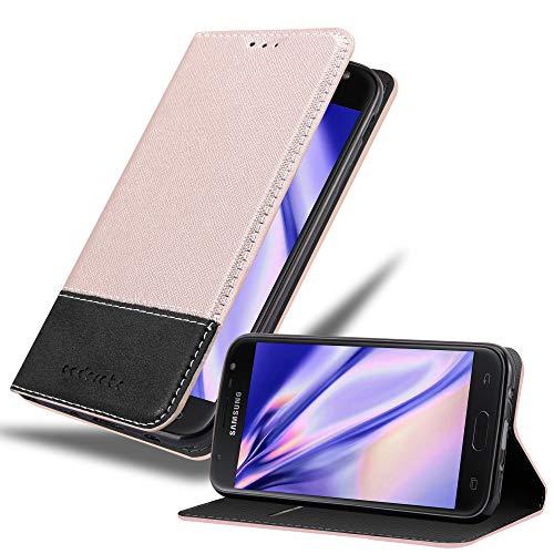 Cadorabo Custodia Libro per Samsung Galaxy J5 2017 in ORO ROSATO NERO - con Vani di Carte, Funzione Stand e Chiusura Magnetica - Portafoglio Cover Case Wallet Book Etui Protezione
