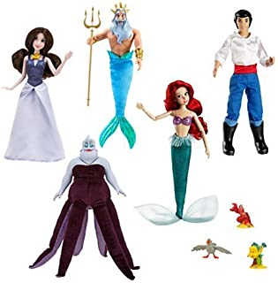 Disney Store the Little Mermaid Exclusive Deluxe Doll Gift Set Vanessa, Eric, Ursula, Ariel, Triton