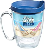 Tervis Life is Better on the Beach Tumbler with Wrap and Blue Lid 16oz Mug, Clear