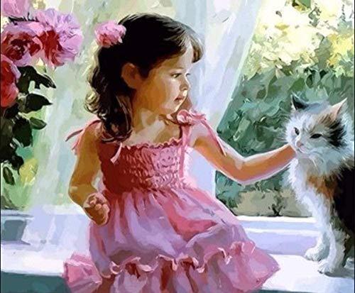 Lsdakoop - Kit per pittura a olio per bambini e adulti, con pennelli e pigmenti acrilici, 40,6 x 50,8 cm