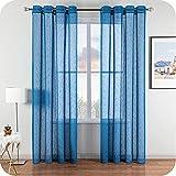 Topfinel Visillo Cortina Dormitorio Translucida Habitacion Salon Visillo Lino Vertical para Ventanas Cocina Sala de Estar con Ojales 2 Piezas 140x220cm Azul