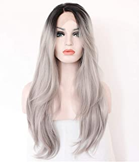 YOFEEL Black Grey Lace Front Wig for Women Silver Grey Hair Wigs Long Natural Wavy Hair Wigs with Middle Part 22 inch Best...