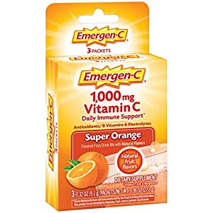 Includes 3 single-serving packets (032 oz each) of Emergen-C Original Formula in Super Orange flavor Each serving provides daily immune support* with more Vitamin C than 10 oranges(1) Also contains B Vitamins, Electrolytes, and other Antioxidants lik...