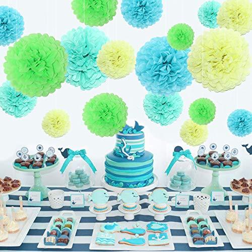 Himeland 20er Papierblume Deko, Seidenpapier Pom Poms Pompons Set, für Geburtstag, Hochzeit, Baby Dusche, Parteien, Hauptdekorationen