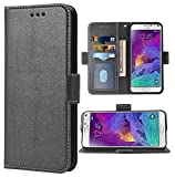 Phone Case for Samsung Galaxy Note 4 Folio Flip Wallet Case,PU Leather Credit Card Holder Slots Full Body Protection Kickstand Protective Phone Cover for Glaxay Note4 SM N910A N910F SM-N910F Black