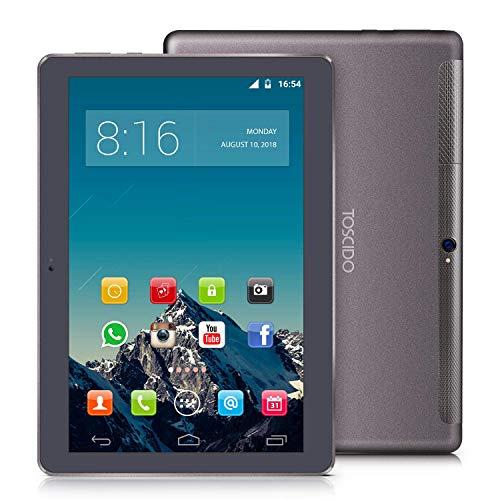 TOSCIDO 4G LTE Tablet 10 Zoll - Android 9.0 Zertifiziert von Google GMS,4GB RAM,64GB ROM,Octa Core 2 GHz CPU schnelle Geschwindigkeit,Dual SIM,WiFi,Dual Stereo Lautsprecher - Grau