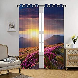 Blackout Curtains Dawn in The Mountains of Flowers of Rhododendron Thermal Insulated Lined Window Coverings for Living Room Bedroom Silk Curtains Grommet 2 Panels (70×84 Inch)