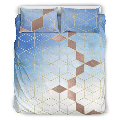 Generic Branded 3-Piece Celestial Gradient Grid Bedspread Bedding Set Retro Pillow Cases and Pillowcases - Modern Art Soft and Comfortable Bedding Set White 229 x 229 cm