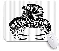 KAPANOU マウスパッド、女性ファッションパンパーフェクトアイブロウまつげの女の子バススケッチ おしゃれ 耐久性が良い 滑り止めゴム底 ゲーミングなど適用 マウス 用ノートブックコンピュータマウスマット