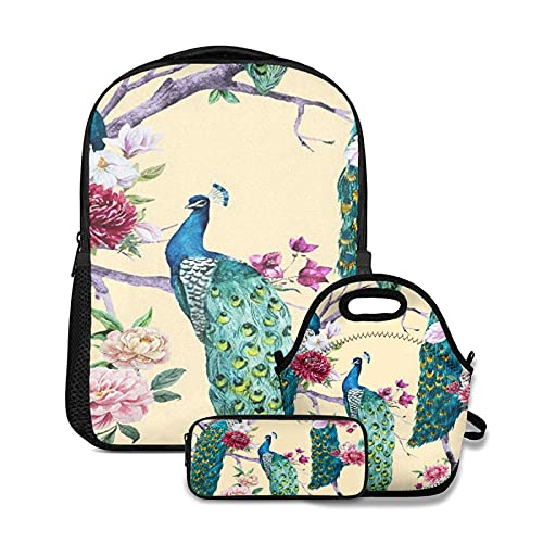 Mochila escolar,Acuarela pavo real sentado en un árbol con flor rosa,flor de crisantemo,buganvillas,magnolia blanca,,con bolsa de almuerzo y estuche para lápices para mochila para adolescentes