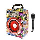 Music Life Altavoz Karaoke Bluetooth Portátil con Microfono Inlámbrico USB Tarjeta TF Recargable con Radio FM (449-2)