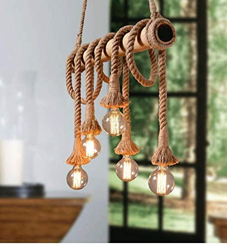 Arturesthome 6 Heads Hemp Rope Pendant Light, Vintage Bamboo Chandeliers, Unique Rustic Twisted Flaxen Industrial Hanging Lamps for Bedroom Restaurant Cafe Bar Country Style Decoration Fixture