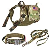 Pruk Tactical Dog Harness Set, K9 Dog Harness Military Dog Vest Collar Leash with Molle Pouch and Patch, No Pull Tactical Dog Vest for Large Dog, Service Dog Harness for Training Hiking(Camo, M)