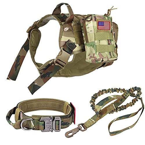 Pruk Tactical Dog Harness Set, K9 Dog Harness Military Dog Vest Collar Leash with Molle Pouch and Patch, No Pull Tactical Dog Vest for Large Dog, Service Dog Harness for Training Hiking(Camo, L)