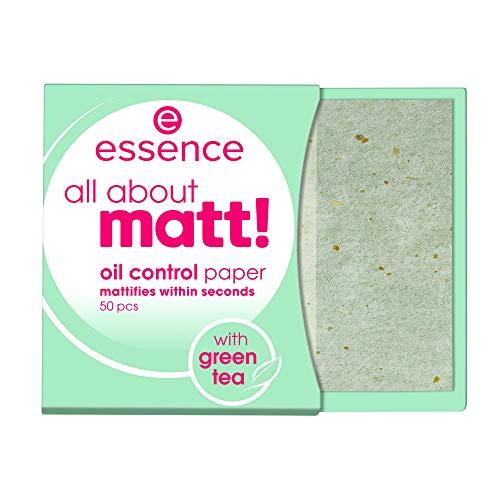essence all about matt! oil control paper, transparent, glanzabsorbierend, Anti-Glanz, matt, Nanopartikel frei, ohne Parfüm, ölfrei (50 Stück)