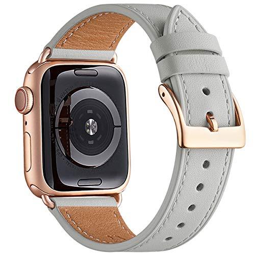 QAZNZ Correas de Cuero para Apple Watch 40 mm 38 mm 44 mm 42 mm, Hombres Mujeres Reemplazo de Correa para iWatch Series 6 5 4 3 2 1 & SE (38mm 40mm, Gris Claro/Oro Rosa)