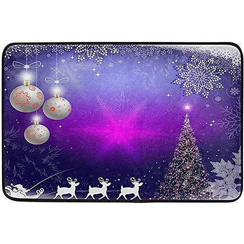 Taoshi Árbol de Navidad Copos de Nieve Alfombras de año Nuevo Alfombrillas de baño Cocina Alfombrilla, Bolas Reno de Papá Noel Entrada Delantera Baño Alfombra de Entrada