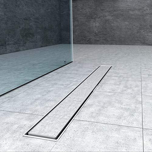 Edelstahl Duschrinne 80cm Ablaufrinne Bodenablauf Siphon mit Geruchsstop Bodenbefestigung Maße von 50 bis 150cm wählar