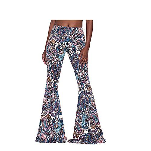 N\P Pantalones de mujer ajustados, pantalones acampanados casuales de cintura alta, ajustados, elásticos