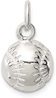 Sterling Silver BASEBALL Charm Solid 12 mm 15 mm Themed Pendants & Charms Jewelry