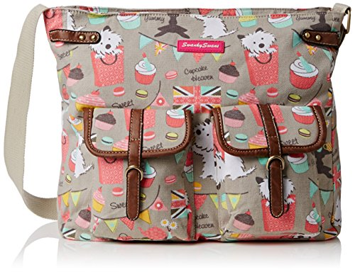 SwankySwans Biba Dog Cupcake Messenger Bag, Grey
