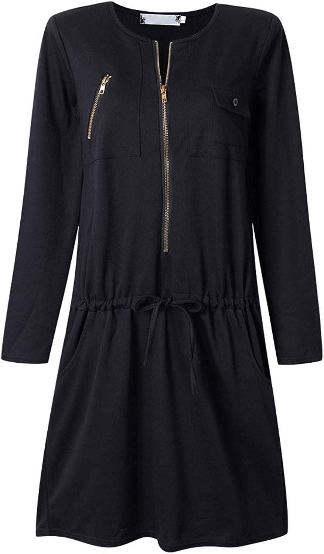Casual Zipper Women Slim Drawstring Pocket Straight Dress