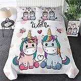 ZHYY Ropa de Cama de Dibujos Animados de Salida del Unicornio niños del lecho King Rose...