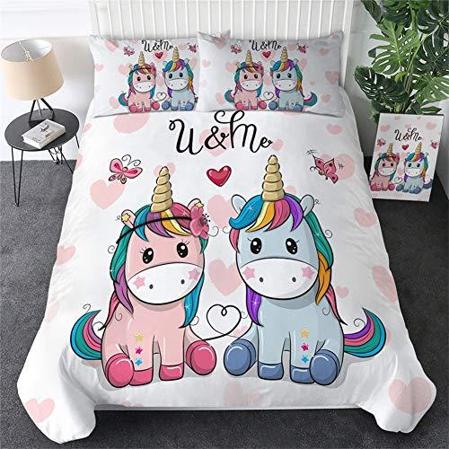 ZHYY Ropa de Cama de Dibujos Animados de Salida del Unicornio niños del lecho King Rose Floral...