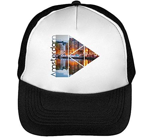 Amsterdam Serie Theme Red Passion Crazy Town Men's Baseball Trucker Cap Hat Snapback Black White